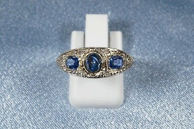 Antique French Art Deco 18K Gold And Platinum Sapphire Rose Cut  Diamond Ring