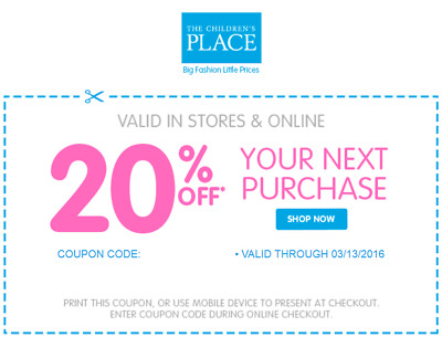 Children's Place discount coupon 20% off - Valid 01/31/2018 – Online ONLY