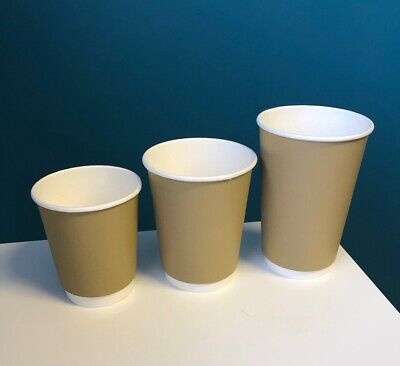 Disposable PAPER COFFEE CUPS DOUBLE WALL NATURAL KRAFT SIP LIDS Hot Drinks x 100
