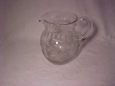 Rare Tiffin Crystal Etched Special Thistle 60 Oz Optic Pitcher  -   Nr