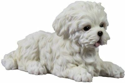 Maltese Puppy Lying Down Statue Sculpture Figurine - GIFT BOXED