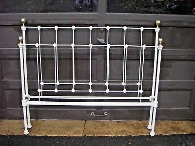 """Antique 1870""""s Iron and Brass Full Bed Frame Ball Finials"""