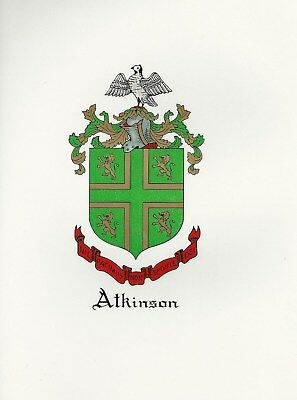 Great Coat of Arms/Family Crest Atkinson genealogy, would look great framed!