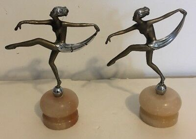 PAIR of VINTAGE ART DECO STYLE DANCER GIRLS STATUES SCULPTURES