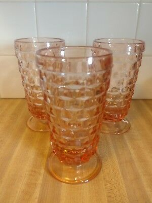 """Set of 3  PINK  FOSTORIA American Cube footed goblets 6 1/4"""""""