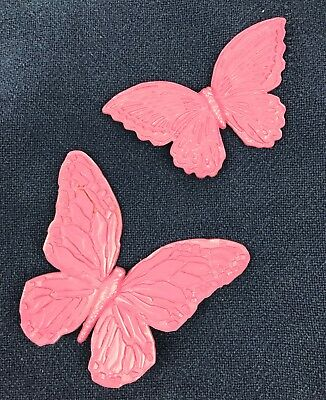 Pair of Pink Painted Plastic Butterfly Wall Decor Vintage Shabby Chic Victorian