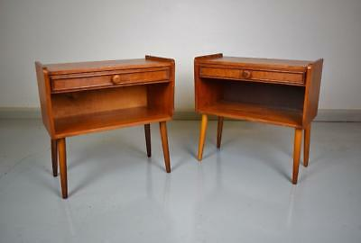 Pair of Mid Century Retro Danish Bedside Cabinets Chests Tables with Drawers 60s