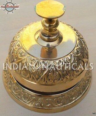 Ornate Solid Brass Hotel Desk Bell Service Bell With Carving On Brass Call Bell