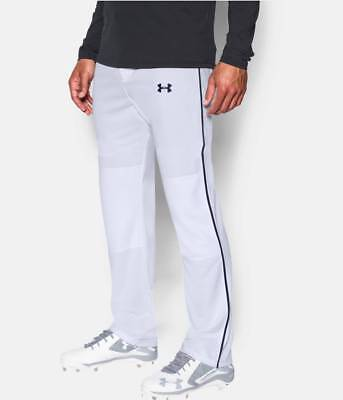 Under Armour Men's UA Clean Up Open Relaxed Baseball Pants White Black Piped