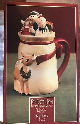 Rudolph The Red-Nosed Reindeer Lenox 2002 Covered Mug-EUC