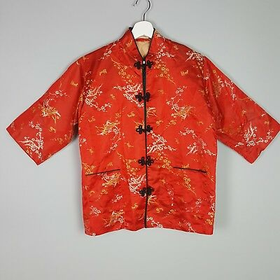 Chinese Traditional Silk Changshan Red Gold Silver Kimono Shirt Top M