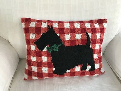 Punched Needlepoint Scottish Terrier Decorative Throw Pillow