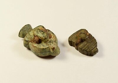 Post Medieval Bronze Musket Ball Mould - Lot Of 2 / Interesting Small Model