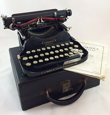 """LC Smith Corona """"Special"""" Folding Typewriter with Instructions & Box – 1930's"""