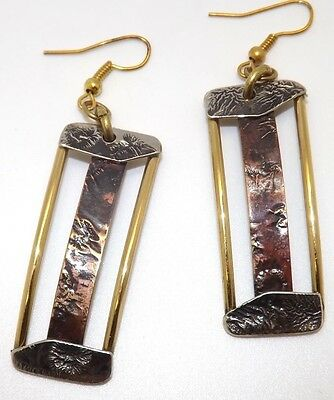 Hammered Silver Brass Copper Artisan Hand Crafted Dangle Arts & Crafts Earrings
