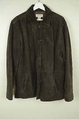 J Crew Mens Brown Raw Leather Button Jacket SZ M