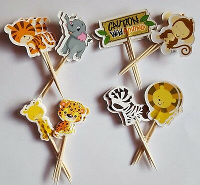 Wild Animals Tiere Zoo 24 Cupcake Muffin Kuchen Toppers Käse-Picks  Tierezoo