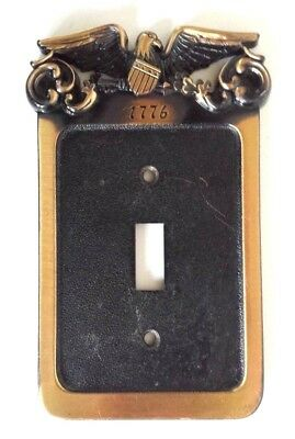 Vintage General Electric (1974) Eagle 1776 Metal Brass Finish Switch Plate Cover