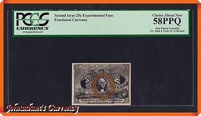 JC&C - Fractional Currency 2nd Issue Experimental Face 25¢ - About New 58 PPQ