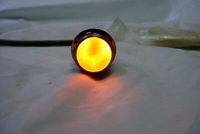 "Vintage NOS Dialco 1"" Pilot Panel Indicator Light - black chrome finish, orange"