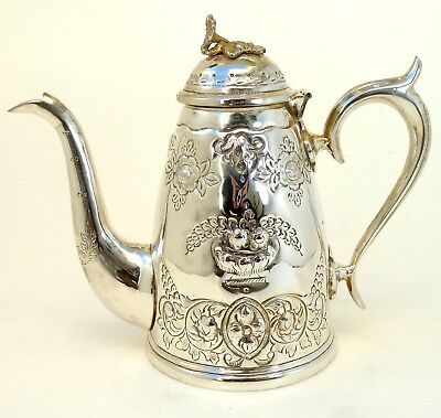 Silver Art Nouveau Style Teapot With Scroll Handle