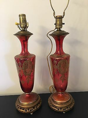 Vintage Art Deco Cranberry And Clear Pressed Cut Glass Lamp Base Brass Gold Gilt