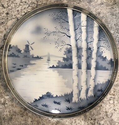 European Art Deco Windmill Porcelain Ceramic Pierced Metal Frame Serving Tray
