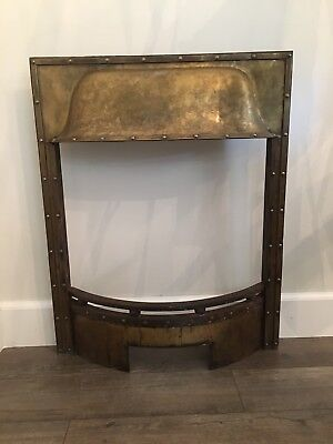 Beautiful Arts & Crafts Brass Fireplace With Rivets