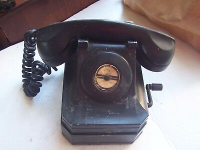 Vintage Antique Windup Crank Desk Phone Stromberg Carlson Black Old Collectible!