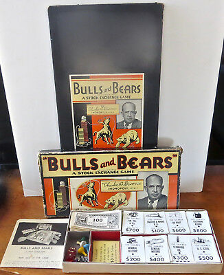 """Vintage 1936 """"BULLS AND BEARS"""" STOCK MARKET GAME PARKER BROTHERS  CHARLES DARROW"""