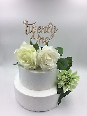 1Pc Laser Cut Cake Topper TwentyOne Wooden 21 Birthday Anniversary Party Supply