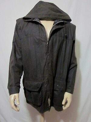 Barbour A875 Classic Durham Hooded Waxed Coat Jacket Brown Sz C44/112CM
