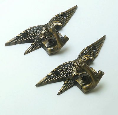 Set of 2 pcs Vintage EAGLE Falcon Solid Brass Strong Wall Mount HOOK Hanger