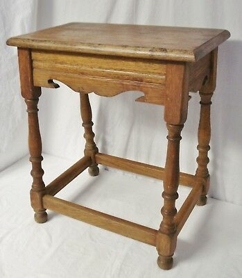"Antique Oak Joint Stool 21"" Tall Small Victorian Style Bench Seat Side Table"