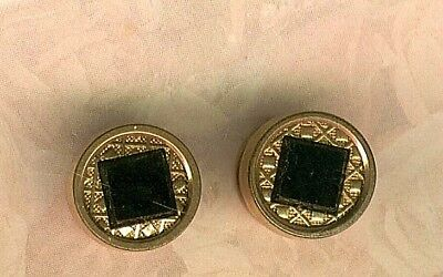 Victorian Pair of Gold Fill Studs with Black Onyx Stones