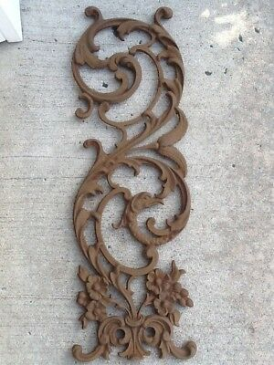Vintage Cast Iron Scroll Floral Griffin Architectural Salvage Farmhouse Shabby