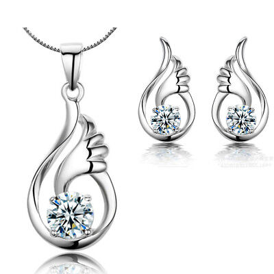 Angel Wing Pendant Necklace 925 Sterling Silver Stud Earrings Womens Jewellery