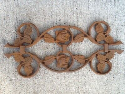 Vintage Cast Iron Salvage Roses Leaf Architectural Accent Farmhouse Shabby