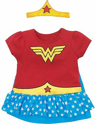 Wonder Woman Toddler Girls' Costume Ruffle Shirt with Cape and Headband - Red