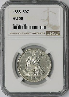 1858 50C NGC AU 50 Liberty Seated Half Dollar