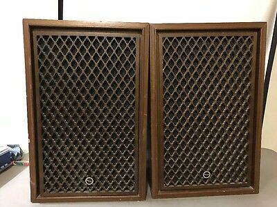 Vintage Sansui Sp-50 2 Way Mid Size Woud Lattice Grill Speaker Set