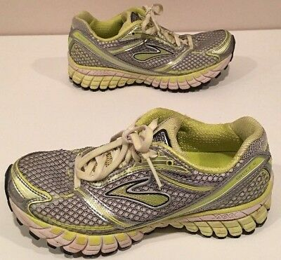 16ae9d5c00195 BROOKS GHOST 6 Women s Running Athletic Shoes Gray Neon Yellow Lime ...