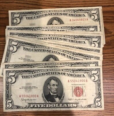 Silver Certificate Five Dollar Red Seal Note Circulated 1953-1963