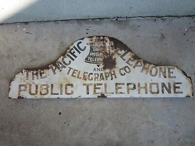 Rare Large Porcelain  Pacific Telephone & Telegraph Sign Barn Find Bell Public