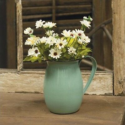 New French Country Chic Enamel Vintage Style Pitcher Garden Vase Pot Bucket
