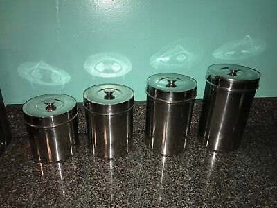 VINTAGE STAINLESS STEEL 4-PC CANISTER SET - Dishwasher safe and very clean!