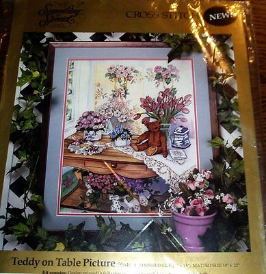 Teddy on Table Something Special Printed Cross Stitch Kit