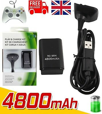 2X Rechargeable 4800mAh Battery Pack +Charge Cable for Xbox 360 Controller Black