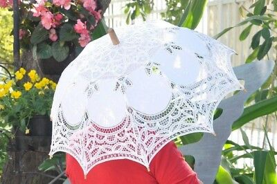 White Lace Chic Parasol Umbrella with Wood Handel, 29-Inch