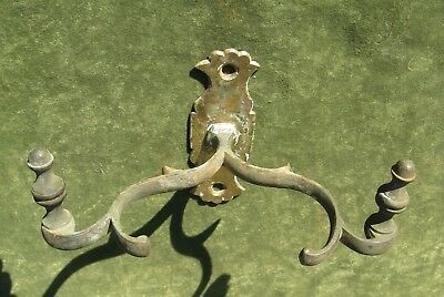 Antique 19thC Brass Jamb Hook Double Fireplace Tool Holder